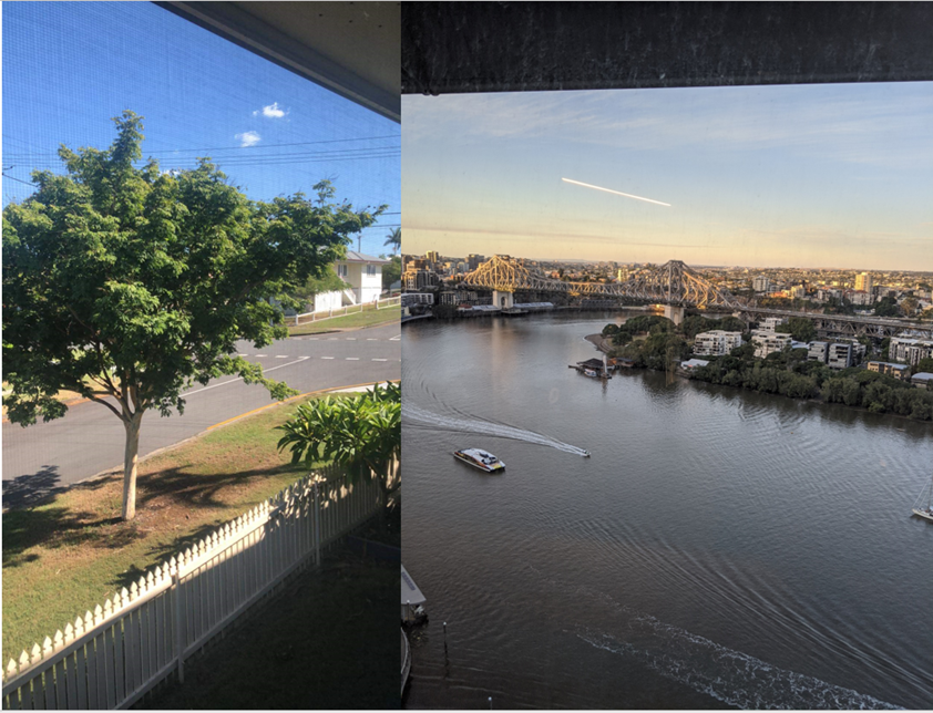 Matt's view working from home (left) and the office (right)