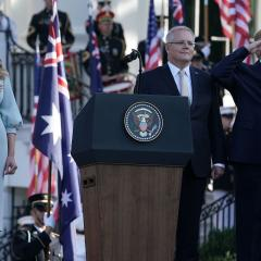 Australian Prime Minister Scott Morrison with US President Donald Trump and the First Lady Melania Trump. Image: Getty Images/Alex Wong/Staff