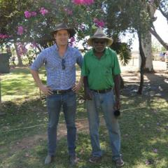 Dr Richard Martin with Warren Beasley at Delta Downs Station in north-west Queensland's Gulf Country, conducting fieldwork for the Kurtijar people's native title claim.
