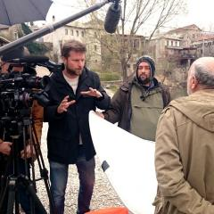 Tim Slade interviews Professor Hamidovic in front of the Mostar Bridge, Bosnia & Herzegovina