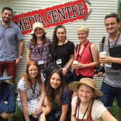 UQ journalism students at Woodford Folk Festival
